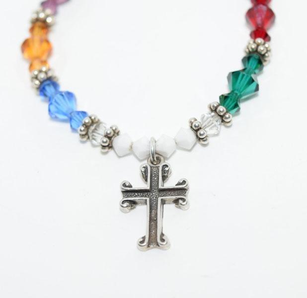 Sterling Multi-Color Beaded Cross Bracelet