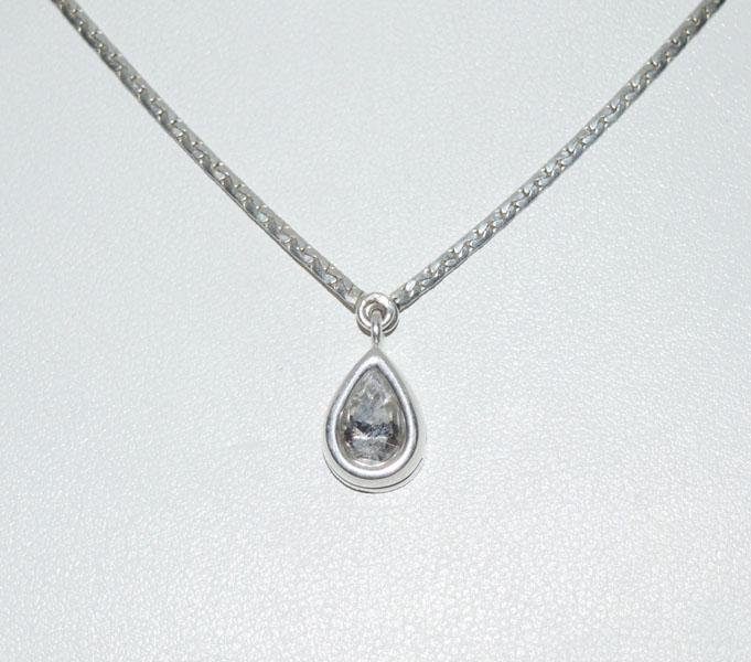 Sterling Bezel Set Tear Drop Necklace