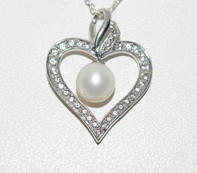Sterling White Topaz Pearl Heart Necklace