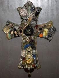 Custom Vintage Repurposed Jewelry Art Cross