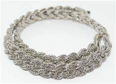 18 Inch Sterling Silver Braided Wheat Chain Necklace