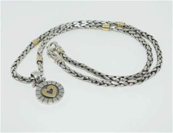 Host Pick 950 Silver & 18kt Gold Heart Link Necklace