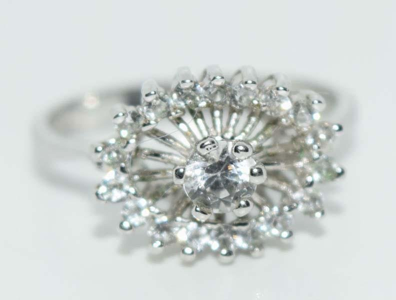 Vintage Panetta CZ and Sterling Silver Cocktail Statement Dome Ring Sz 7.25
