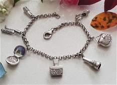 14k White Gold Diamond Charm Bracelet