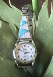 Signed Native American Sterling Opal & Turquoise Watch