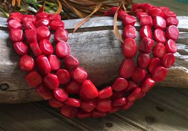 Multi Strand Coral Sterling Silver Necklace