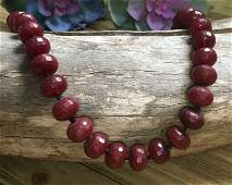 11.5mm Knotted Faceted Garnet Bead Necklace