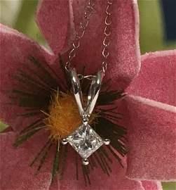 NIB 14K White Gold 0.18ct Princess Cut Diamond Necklace
