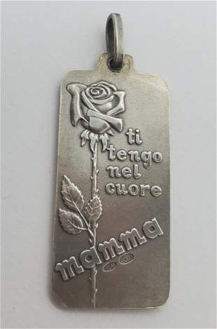 Signed Italian 800 Silver Mother and Child Pendant