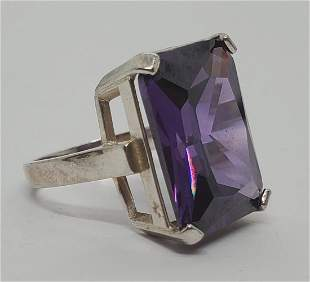 Large Amethyst Sterling Silver Ring