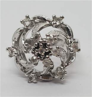Vintage Sterling Silver textured Flower Dome Ring
