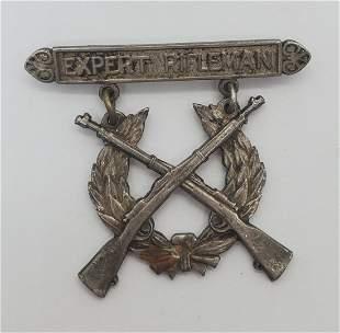 WW2 Expert Rifleman Sterling Pin
