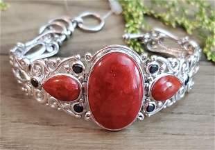Sterling Silver Large Coral and Quartz Bracelet