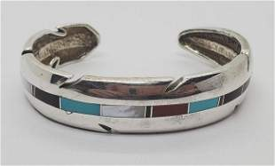 Native Signed Eagle Feather Sterling Cuff Bracelet