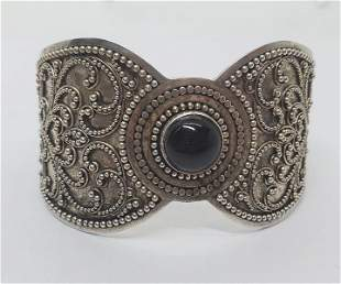 Unsigned Beaded Sterling Onyx Cuff Bracelet