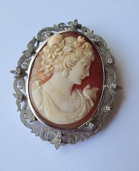 Victorian 11k Gold and Diamond Cameo Brooch