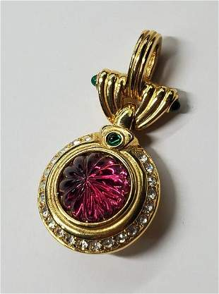Vintage Nolan Miller Gold Tone Crystal Pendant