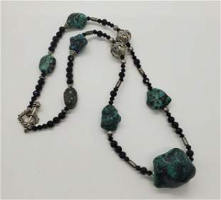 Natural Stone and Glass Necklace