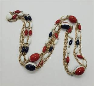 Vintage Hong Kong Red White and Blue Necklace