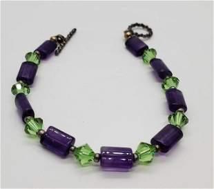 Green Crystal and Amethyst Bracelet