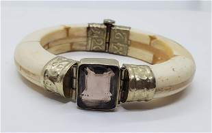 Carved and Shaped Bone and Quartz Bracelet