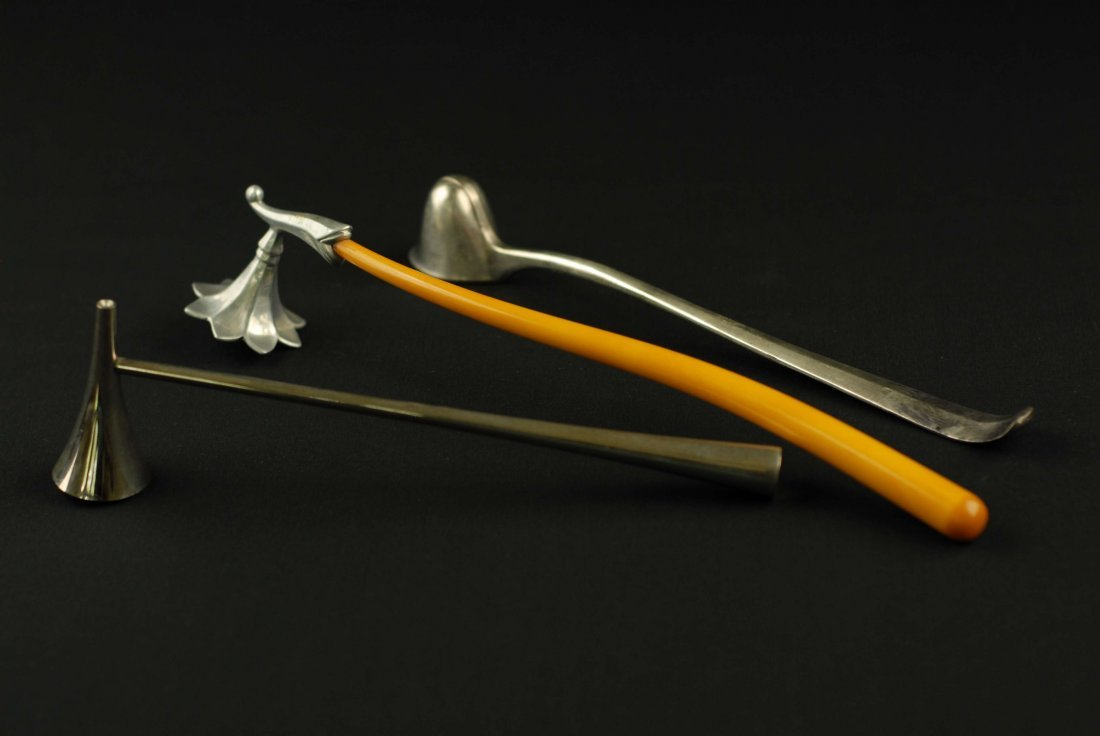 A GROUP OF 3 ART DECO CANDLE SNUFFERS, 20TH CENTURY