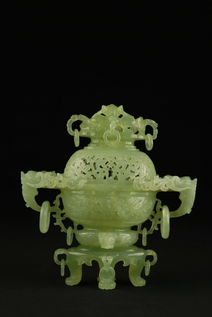 A CHINESE CARVED CELADON JADE CENSER