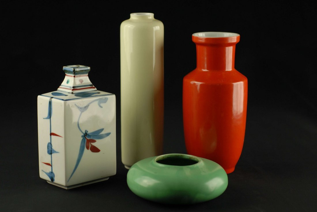 CHINESE MONOCHROME VASES AND ONE HAND PAINTED VASE