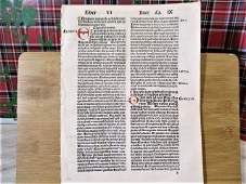 1492 Quire of 8 Incunabula Leaves Opera by Ambrosuis
