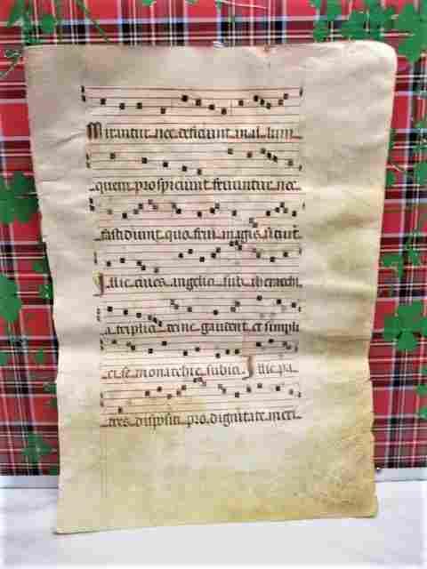 1390 Christian Illuminated Manuscript Gregorian Chant