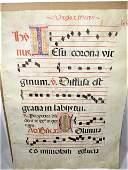 1500C Antiphonary Manuscript Leaf, Sheep Skin, 4 Colors
