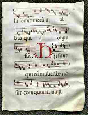 1350 Latin Leaf Is from An Antiphonal (Choir Book) RARE