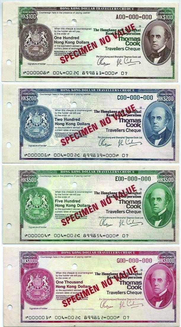 Hongkong 100,200, 500, 1000 Dollar SPECIMEN Thomas Cook