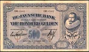 Netherlands Indies 500 Gulden Coen VF