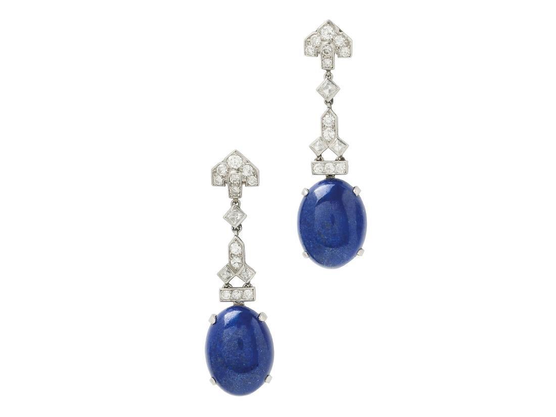 An Art Deco Pair of Lapis Lazuli, Diamond and Platinum