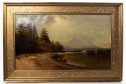 """Harvey Otis Young 1873 Landscape Lake Painting 19x29"""""""