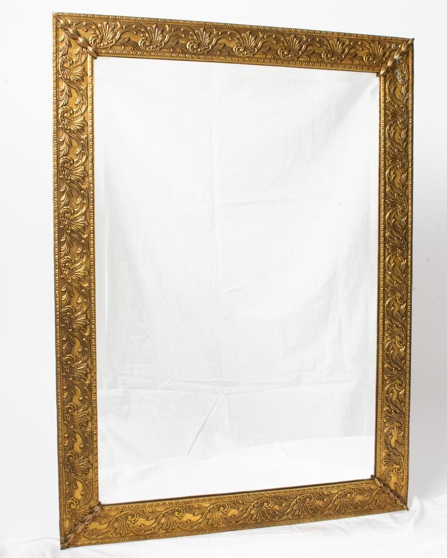 "Antique Mirror with Gold Gilt Brass Frame 26.5x19.25"""