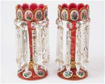 """Pair of Antique Cranberry Glass Mantle Lusters 12.75""""t."""