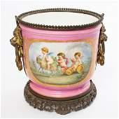 1800s Sevres Pink Porcelain Cherub Jardiniere Cache