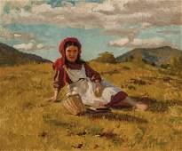 JOHN GEORGE BROWN American oil on canvas
