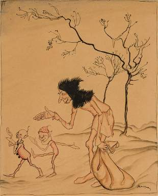 ARTHUR RACKHAM, British, watercolor and ink on paper