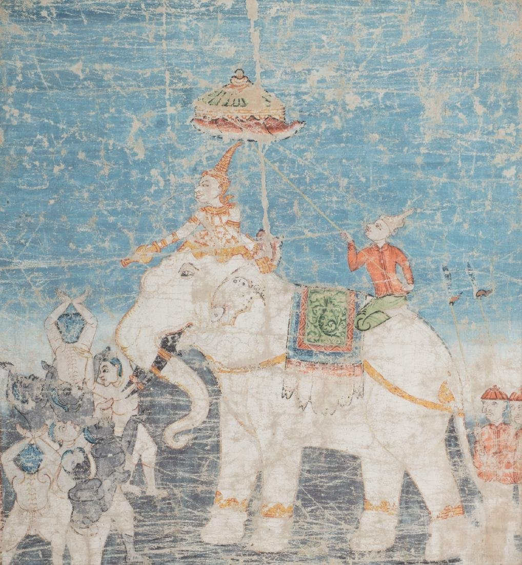 Pannello dipinto su tela con elefante bianco e
