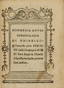105B: Stecchito - [Antonio Maria da Siena]. Commedia nu