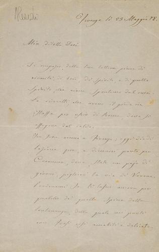 1A: Lettera autografa da Firenze 23 V 1878; lettera au