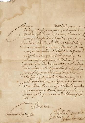 9A: Carlo I Gonzaga, duca di Nevers. Lettera con sotto