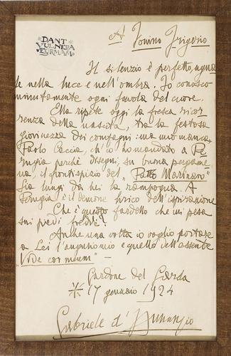 19A: D'Annunzio, Gabriele. Lettera autografa incornicia