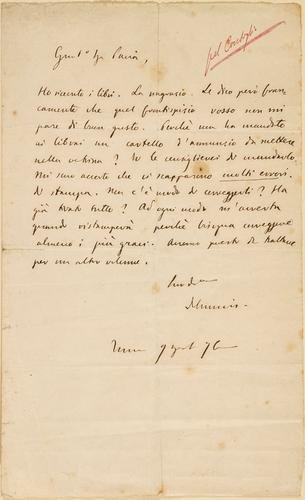 21A: De Amicis, Edmondo. Lettera autografa.