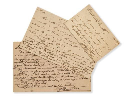23A: Fucini, Renato. Lettera e cartolina autografa.