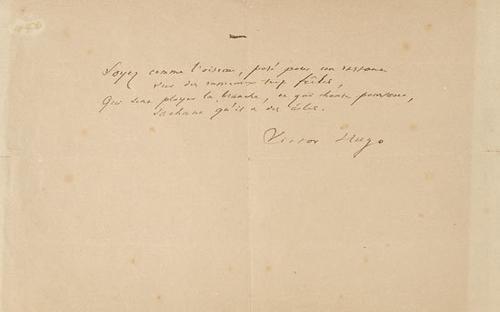27A: Hugo, Victor. Componimento poetico autografo con f