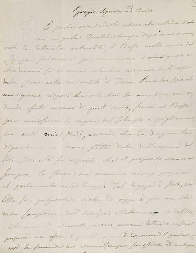 30A: Mamiani, Terenzio. Lettera autografa firmata.